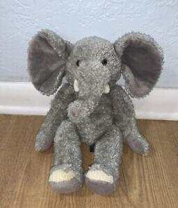 "Russ Berrie TUSKS Gray Ivory Elephant Retired Vintage 14"" Stuffed Plush Animal"