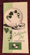Metlox Poppytrail CALIFORNIA IVY Open Stock Dinnerware Brochure 1961