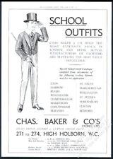1919 English school boy uniform clothes art Chas Baker London BIG UK print ad
