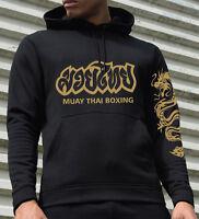 Thai Boxing, black performance hooded sweatshirt, technical Muay Thai