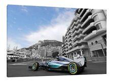 Lewis Hamilton GP MONACO 30x20 pollici tela MERCEDES Foto Incorniciata F1 Print