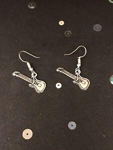 Silver Guitar Earrings. Vintage Style Dangly Charm Earrings. Guitar Jewellery
