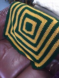 Granny Squares Crochet Blanket Throw Handmade Hand Crafted Retro Square V876