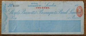 """Lloyds, Barnetts & Bosanquets Bank Ltd, London """"Country"""" in red, cheque 1885"""
