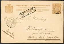 N.I.,KLEINROND MENADO 2/10 1891 OP BRIEFK.7½ CT.-KATWIJK BINNEN, ROUTE VIA Zi741