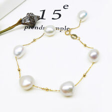 """8-9MM White Real Freshwater Cultured Pearl Bracelet Jewelry 18K Yellow Gold 7"""""""