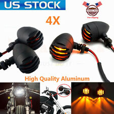 4X Motorcycle Grill Bullet Turn Signals For Harley Cafe Racer Bobber Chopper