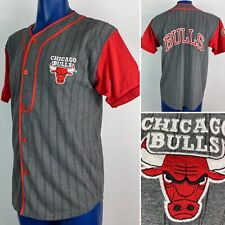 Vintage Chicago Bulls Baseball Starter Jersey Shirt Mens M NBA Gray Pinstripe VG