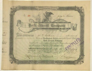 York Transit Company > 1907 stock signed by John J Boland as president autograph