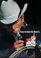 PUBLICITÉ DE PRESSE 1989 MARLBORO COME TO WHERE THE FLAVOR IS - COW-BOY
