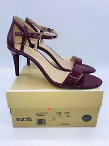 MICHAEL Michael Kors Women's Simone Slingback Sandals Patent Maroon US 8M EUR 38