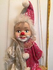 """Porcelain CLOWN STRING DOLL in Pink,White & Silver Outfit ON SWING HANGING  28"""""""
