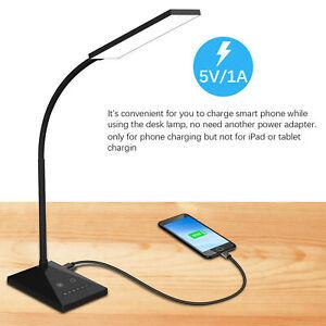 LED Desk Lamp 7 Levels Adjustable Night Light USB Port Touch Home Table Lamp UK