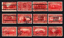 #Q1-Q12 1c-$1Carmine Rose Parcel Post 1913 Used Set 12