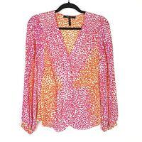 Bcbg Maxazria blouse top Sz S Silk Cutout Sleeve Orange Pink hearts
