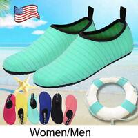 US Men Women Water Shoes Aqua Socks Non Slip for Beach On Surf Exercise Swimming