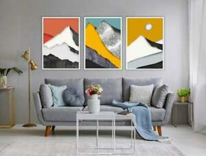 Wall Art Print Poster Nordic Mountains Abstract Landscape Iceland Panorama Set 3