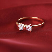 Wedding Zircon Crystal Bow Gold Plated Finger Ring engagement Woman's Charm Ring