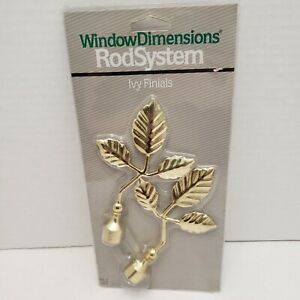 New Window Dimensions Rod System IVY Finials Brass Gold Tone Leaf Leaves End