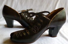 Vintage 1920s Brown Leather Shoes Peep Toe Size 5