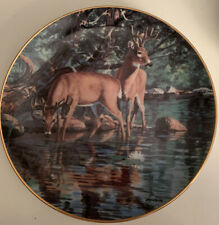 """Velvet Reflections� Plate-Friends of the Forest-Bruce Miller-Deer-Bucks-Danbury"