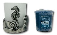 Yankee Candle Seahorse Frosted Glass Silver Votive Holder Mediterranean Breeze