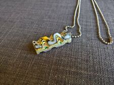 necklace fordite yellow blue double sided stainless steel
