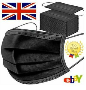 50 x Disposable Black Face Masks 3 Ply Dental Non Medical Surgical Mask Covering