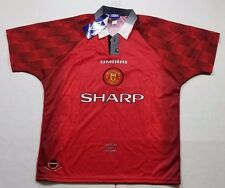NWT Vintage Rare Manchester United Soccer Jersey Men's Large Umbro Sharp Red