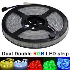 Dual Double 2 Row RGB 5M 600Leds 5050 IP66 Led Strip Lights Lamps Waterproof