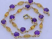 BE060 Genuine Solid 9ct Gold NATURAL Amethyst & Citrine Line Bracelet 18cm