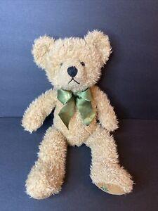 "Harrods 16"" Tan Teddy Bear Plush Green/ Gold Ribbon w/Harrods on its foot"