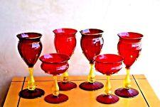 VERY RARE ANTIQUE ITALIAN MURANO ART GLASS 6 VINE GLASSES GOLD & RED RUBY COLOR