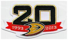 ANAHEIM DUCKS 20TH ANNIVERSARY PATCH 1993 - 2013 DUCKS NHL JERSEY PATCH