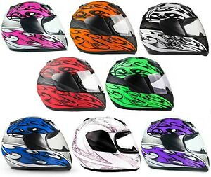 Full Face Motorcycle Helmet Youth Child DOT Kids Small Medium Large XL