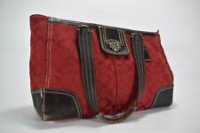 Coach Hampton Signature F13974 Satchel Handbag in Red