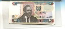 KENYA 2010 50 SHILLINGS CURRENCY NOTE  LOT OF 5 CU 2928J
