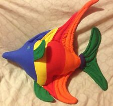 """Tropical Rainbow Fish Plush Pillow Toy Room Decor 20"""" Blue/Yellow/Red Green(111)"""