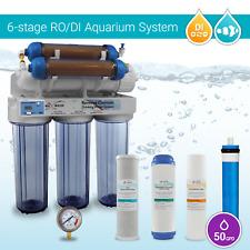 6 Stage Aquarium Reverse Osmosis System RO DI + HM Inline TDS Meter (50~180 GPD)