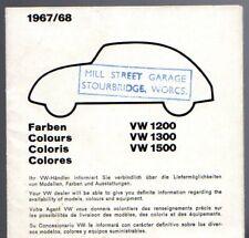 Volkswagen Beetle Exterior Colours 1967-68 UK Multilingual Foldout Brochure
