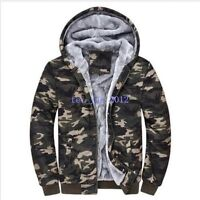 Hot Men's Winter Camo Military Jackets Thick Velvet Hooded Zip Coat Hoodies Size