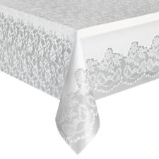 WHITE LACE PLASTIC TABLECOVER,  9FT X 4.5FT, WEDDING, BIRTHDAY, CHRISTMAS