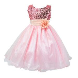 Girl Bilo Lovely Sequin Little  Flower Dress, 5 Colors, 2T-8