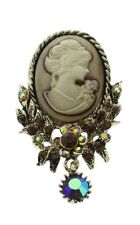 Cameo Rhinestone Pin Brooch Broach Brooch with Necklace Pendant hook