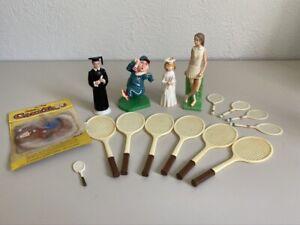 Vintage Rare WILTON Cake Decorations 1970s, Sports,Graduation, Tennis, Pre-Owned