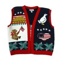 VTG Sweater Loft Women's L Patriotic Americana Folk Art Sweater Vest USA Made