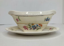 Crown Potteries Gravy/Sauce Boat Gold Floral Pale Yellow Some Crazing Tiny Chip