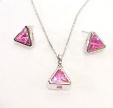 White Gold Plated Pink Cubic Zirconia Triangle Medium Stud Earrings Necklace Set