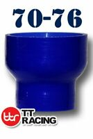 """Silicone Straight Reducer Coupler Radiator Hose Pipe 70mm to 76mm 2.76"""" 3"""" Blue"""
