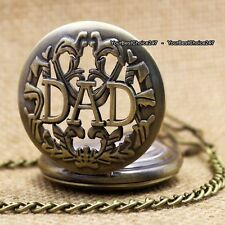 DAD Pocket Watch Necklace Bronze Present Father Grandfather Men Son Gift For Him